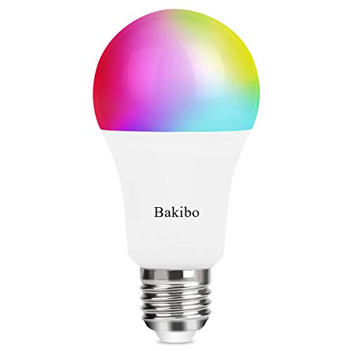 bakibo Lampadina Wifi Intelligente Led Smart Dimmerabile 9W 1000Lm, E27 Multicolore Lampadina Compatibile con Alexa e Google Home, A19 90W Equivalente RGBCW Colore Cambiante Lampadina, 1 Pcs