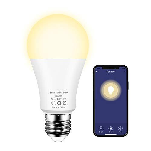 Lampadina Smart WiFi E27, 13W Lampadine Intelligente LED Con Luce Soffusa Bianco Caldo 2700K Compatibile Con Alexa Google Home
