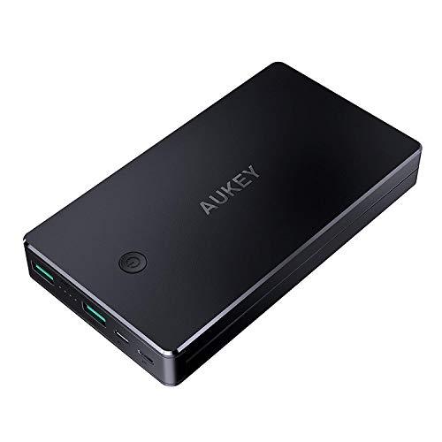 AUKEY Powerbank 20000mah, Caricabatterie Portatile 2 Ingressi, Caricatore Portatile per iPhone 11Pro/ XS Max/XR/ 8/7/ 6s, iPad, Samsung, Tablet ECC. (Grigio Scuro)