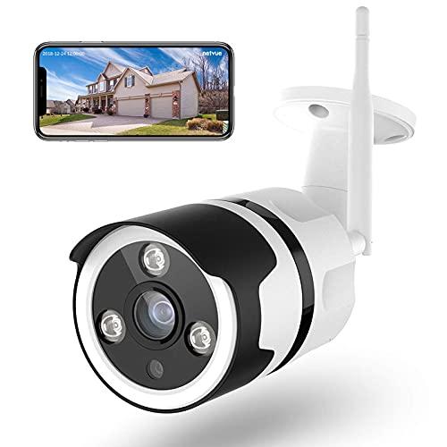 Netvue Telecamera Wifi Esterno - 1080P Full HD Videocamera Sorveglianza Wifi con Rilevamento di Umano Movimento, Visione Notturno, Audio Bidirezionale, Telecamera di Sicurezza Funziona con Alexa