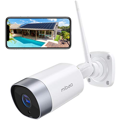 Mibao Visione Notturna super telecamera wifi esterno, Telecamera di Sicurezza con Rilevazione Movimento Telecamera WiFi con IP66 Impermeabile, audio a due vie, Compatibile con IOS/Android/PC