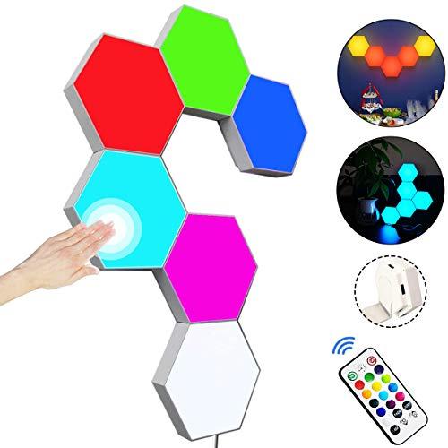 Pannelli LED RGB con Telecomando, Luci Esagonali LED Parete Gaming Pannello Muro Controllo Touch Luce Notturna,Fai da te Geometria Splicing Lampada Esagonale per Stanza da letto/Salotto/Party,6 Pezzi
