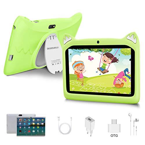 Tablet per Bambini 7 Pollici Android 10 Pie Tablets 3GB RAM 32GB/128GB ROM - Certificato Google GMS - WIFI   Bluetooth   GPS   iWawa APP  Doppia Fotocamera Tablet (verde)