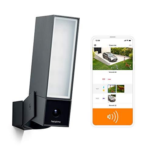 Netatmo Telecamera WIFI Esterna Intelligente con Sirena da 105 dB, Luce Integrata, Sensore di Movimento, Visione Notturna, Senza abbonamenti, Nero Intenso, NOC-S-IT