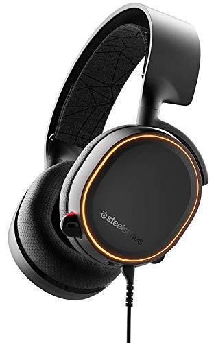 SteelSeries Arctis 5 Cuffie da Gioco, Illuminazione RGB, Tecnologia Surround DTS Headphone:X v2.0 per PC e PlayStation 4, 10 - 40.000 Hz, Cablata, Nero