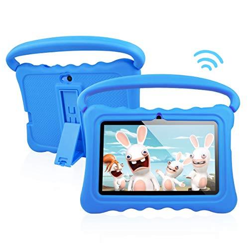 Tablet per Bambini Android 8.1 OS 7 Pollici Tablet con Display FHD per Bambini 1 GB di RAM 16 GB di Storage Quad-Core 1.3Hz Tablet WiFi Custodia Morbida Antiurto e a Prova di Bambino (blu)