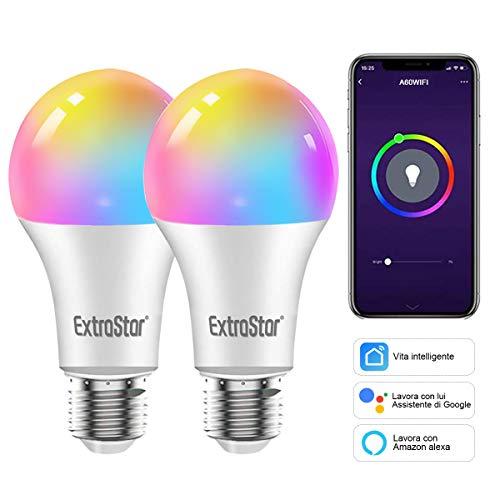 Lampadine Alexa Led E27 WiFi Lampadina Smart,EXTRASTAR Lampadine Intelligenti 10W 1000Lm Luci Calde/Fredde e 16 Milioni di Colori, Compatibile Con Alexa, Google Home e con timing- Pacco da 2