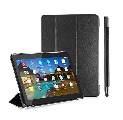 LNMBBS Custodia per Tablet 10 Flip Cover PU in Pelle e fondello in Acrilico, per YOTOPT 10.1 / BEISTA 10.1 / KXD 10' / FIFG 10' Tablet (Nero)