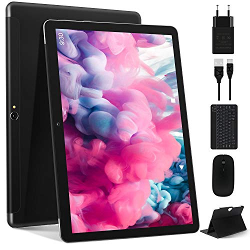 Tablet 10 Pollici Più Recente Android 10.0: Tablet PC MEBERRY Multi-Accessori con 4 GB di RAM + 64 GB di ROM con Processore Quad-Core- Dual SIM   8000mAh   WIFI   GPS   Doppia Fotocamera, Nero