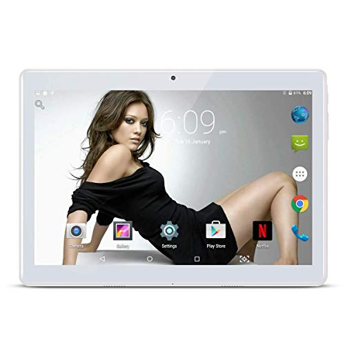 """10.1"""" pollici Tablet Android 8.1 Phablet Octa Core 4 GB RAM 64 GB ROM 3G Phablet con WiFi GPS Bluetooth Netflix Google Play (Nero) (Argento)"""