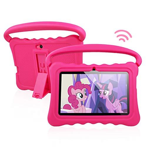 Tablet per Bambini Android 8.1 OS 7 Pollici Tablet con Display FHD per Bambini 1 GB di RAM 16 GB di Storage Quad-Core 1.3Hz Tablet WiFi Custodia Morbida Antiurto e a Prova di Bambino (rosa)