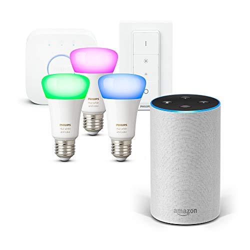 Amazon Echo (2ª generazione), Tessuto grigio chiaro + Philips Hue White and Color Ambiance Starter Kit