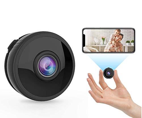 Mini telecamera di sorveglianza WLAN wireless Full HD 1080P con 6 luci a infrarossi, visione notturna, rilevamento di movimento, App telecomando grandangolare 150°