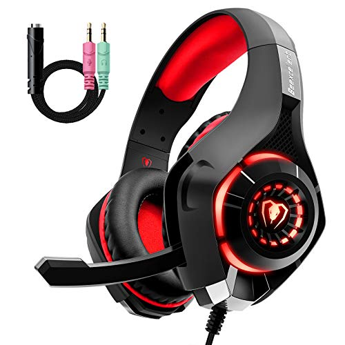 Beexcellent GM-1, Cuffie da gaming con microfono e Bass stereo, Cancellazione del rumore, Controllo del volume, Illuminazione a LED, Colore Rosso