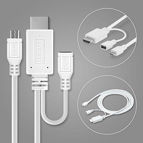 subtel Cavo MHL Adattatore, Adattatore da Micro USB 5-Pin a HDMI per HTC One M9 / One X/per Sony Xperia Z1 / Z2 / Z3 / Z5, etc - 1,5m connetore es per Immagini HD/transmissione Audio