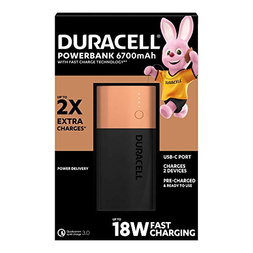 Duracell Power Bank - 6700 mAh, Caricatore Portatile con USB C e Ricarica Rapida IN/OUT (Power Delivery 18 W e Quick Charge 3.0), per iPhone, Samsung, Huawei e Dispositivi Alimentati via USB