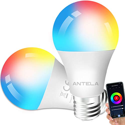 Lampadine LED Alexa Inteligente WiFi E27 [2021Edition], Dimmerabile Lampadina ANTELA Smart 9W 806ML 80W equivalente, RGB & 2700K-6500K bianco freddo caldo, compatibile con Alexa/Google Home, 2 pezzi