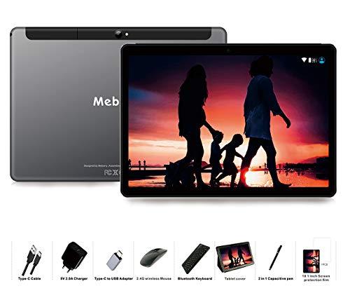 MEBERRY Tablet 10 Pollici Android 9.0 Pie Tablets 4GB RAM + 64GB ROM - Certificato Google GSM - Dual SIM | 8000mAh | WIFI | Bluetooth | GPS |Type-C (5.0+8.0 MP Telecamera) - Grigio