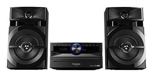 Panasonic SC-UX102E-K Sistema Mini, 300 W, Speaker a 2 Vie, Woofer da 13 cm, Lettore CD, CD-R/R W, Bluetooth, USB, DAB/DAB+, 30FM/15AM RDS, AUX, Audio di Qualità, Illuminazione Blu, Nero