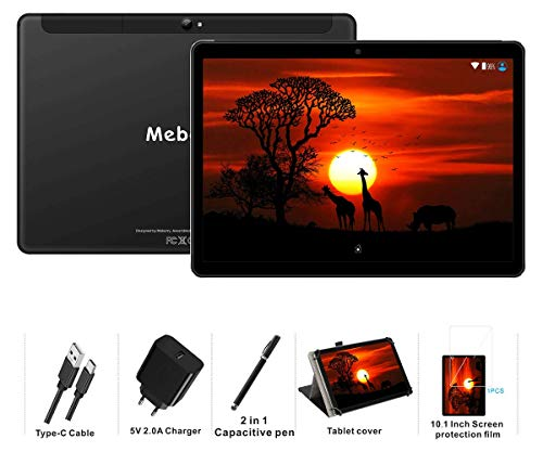 MEBERRY Tablet 10 Pollici Android 9.0 Pie Tablets 4GB RAM + 64GB ROM - Certificato Google GSM - 4G Dual SIM | 8000mAh | WI-FI| Bluetooth | GPS |Type-C (5.0+8.0 MP Telecamera) - Nero