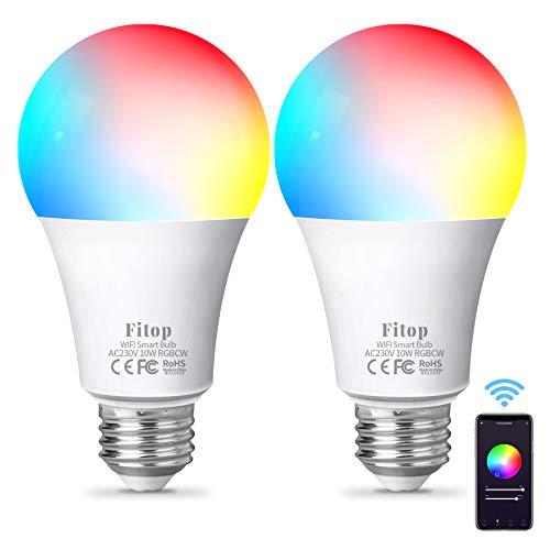 Lampadina Alexa WiFi E27, Fitop Lampadine Smart LED 10W, 1000LM, 90W Equivalente, Dimmerabile RGBCW [2200-6500K] Bianco Freddo/Caldo, Compatibile con Alexa/Google Home/Siri, 2 Pezzi