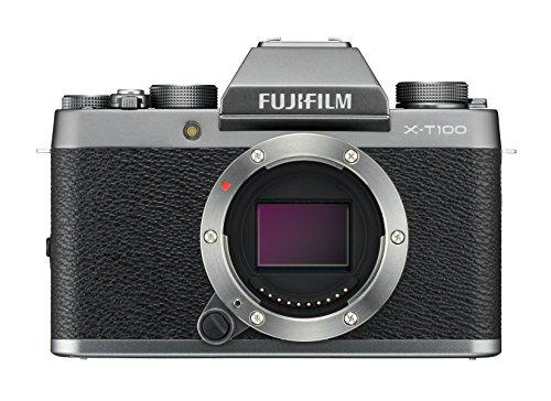 Fujifilm X-T100 Fotocamera Digitale 24MP, Sensore CMOS APS-C, Ottiche Intercambiabili, Mirino EVF, Schermo LCD Touch da 3' Inclinabile a 180°, Filmati 4K, WiFi e Bluetooth, Argento Scuro