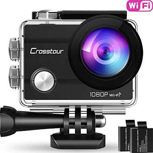 """Crosstour Action Cam, Sport WiFi Camera 1080P 2""""LCD Full HD Impermeabile 2 Batterie 1050mAh 170°Grandangolare e Kit Accessori per Ciclismo Nuoto e Altri Sport Esterni (CT7000-NE)"""
