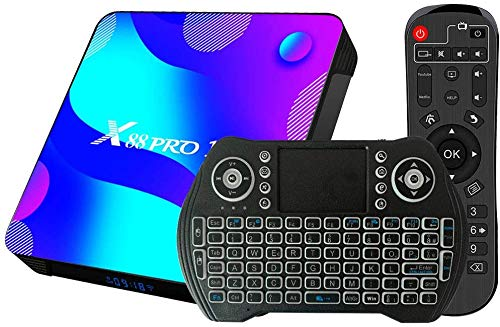 Android 11 TV Box 4GB RAM 32GB ROM Set Top Box Smart TV Box RK3318 USB 3.0 1080P Ultra HD 4K HDR WiFi 2.4GHz 5.8GHz BT 4.1 TV Box Android con Mini Tastiera Senza Fili Retro Illuminata