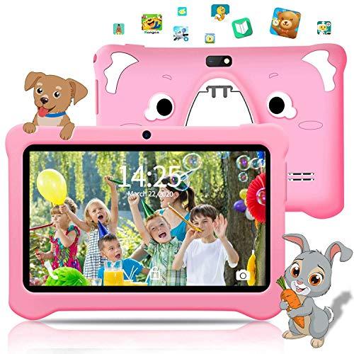 Tablet per Bambini 7 Pollici, Android 9.0 Pie, Certificazione GOOGLE GMS, 3 GB RAM 32 GB Rom, WiFi, IPS HD Display, Bluetooth, Doppia Fotocamera, Per Bambini e Adulti, Tablet PC, Rosa