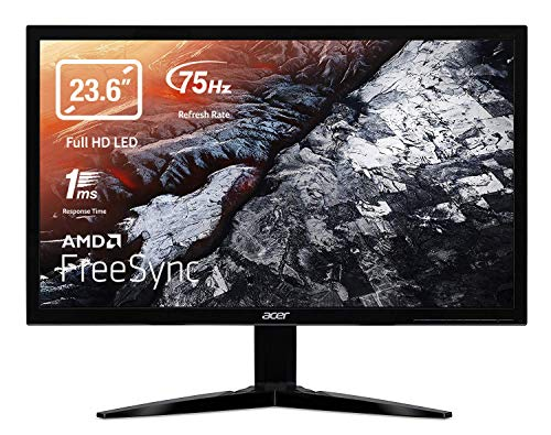 Acer KG241Qbii Monitor Gaming FreeSync, 23,6', Display Full HD, 75 Hz, 16:9, 1 ms, VGA, HDMI, Lum 300 cd/m2, Cavo VGA Incluso, Nero