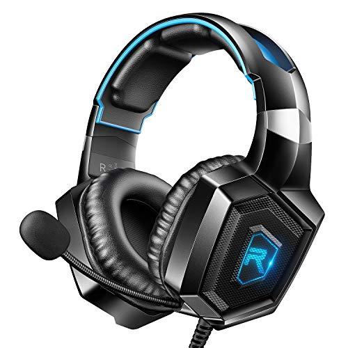 RUNMUS - Cuffie da gioco per PS4, Xbox One, PC con suono surround, con microfono e luce LED, compatibili con PS4, Xbox One, Nintendo Switch, PC, PS3, Mac, laptop Cruz V2 Fresh Foam Blue