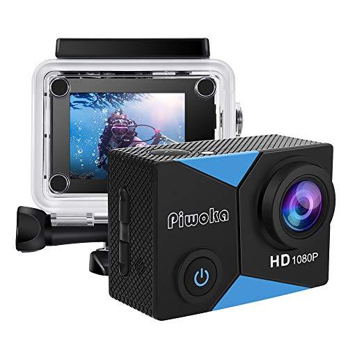 Piwoka Action Cam 1080P 12MP FHD 30M Impermeabile Fotocamera Subacquea con Schermo 2 Pollici 140 Gradi Ampia Vista Grandangolare Accessori Completi
