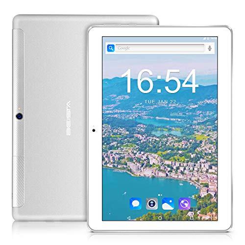 Tablet 10 Pollici 3G tablets BEISTA-Corpo in metallo ultrasottile,Schermo temperato HD,Android 7.0,Quad core,SIM,WIFI,32GB,Altoparlanti stereo doppio,GPS,Bluetooth-Argento