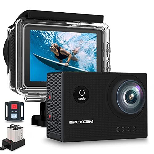 【2021 Nuova】Apexcam 4K 60FPS EIS Action Cam WiFi 20MP Sport Camera Ultra HD Fotocamera Impermeabile 40M Sott'acqua Regolabile Grandangolare Mic Esterno Con Telecomando 2x1350mAh Batterie e Accessori