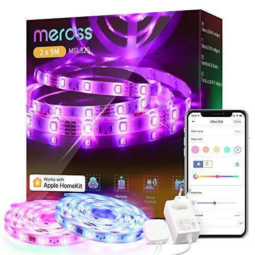 Striscia LED Intelligente meross 10M, Compatibile con HomeKit, Alexa, Google Home, RGB Luce Nastro Luminoso WiFi, Multicolore per Festa, Bar, Scrivania Gaming