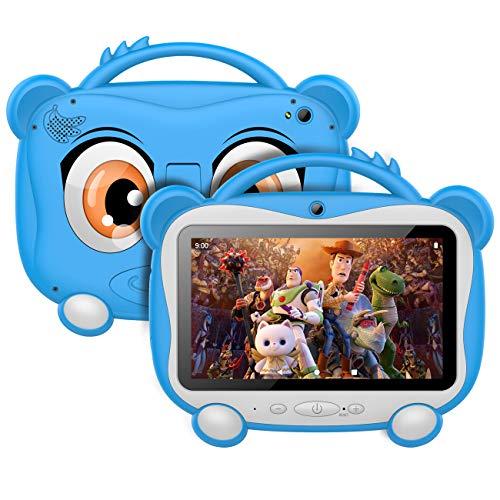 Tablet per Bambini 7 Pollici, Android 10.0 Certificazione GOOGLE GMS, 16 GB di Memoria, Supporto 128 GB Espandibile   WiFi 2.4 Ghz   Bluetooth 4.0   Batteria da 3000 mAh   con Kid-Proof Custodia, Blu