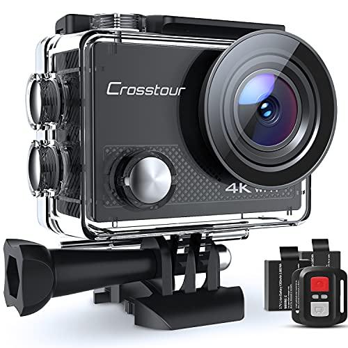 Crosstour Action Cam CT9000, 4K 20MP WiFi Telecomando, Impermeabile 30M Videocamera Subacquea, Stabilizzazione Fotocamera 19 Accessori Grandangolo 170°