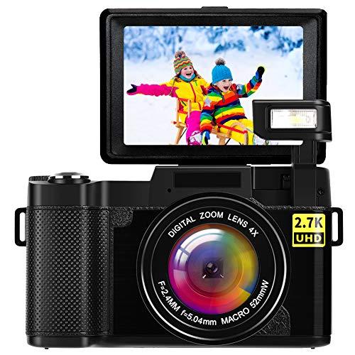 Macchina Fotografica Videocamera Fotocamera Digitale 2.7K Macchina Fotografica Digitale Ultra HD 24MP Fotocamera Digitale Compatta con Luce Flash Retrattile