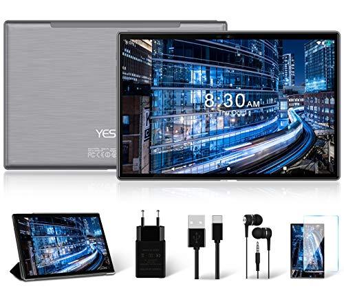 Tablet 10 Pollici con 5G WiFi 4G LTE Dual SIM, Android 10.0 YESTEL T5 Tablet PC Processore Octacore da 1.6 GHz, Face ID, HD Display, Batteria 6000mAh, 64 GB Espandibili Fino a 128 GB, 3 GB RAM, Grigio