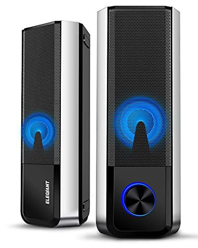 ELEGIANT Cassa PC Bluetooth 5.0, Altoparlante USB Stereo Speaker Portatile per Notebook Computer TV Laptop iPhone 11 PRO XS Max XR x 8s iPad Samsung S20 S10 S9 S8 Huawei Mate 30 P30 P20 PRO 10 HTC LG