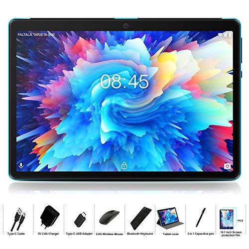 Tablet PC 10 Pollici con Android 9.0, MEBERRY Tablet 4GB + 64GB con Processore Quad-Core - Certificato Google GSM - Doppia SIM| 8000mAh| Bluetooth| GPS| Fotocamera 5.0 + 8.0 MP, Corpo in Metallo Blu