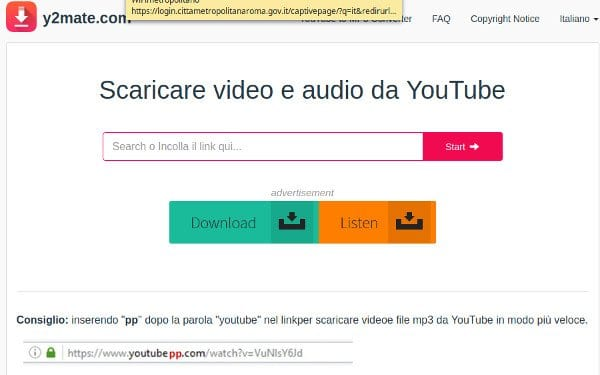 scaricare video da youtube con y2mate