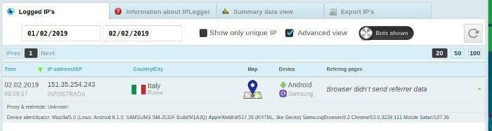 IP Cellulare da localizzare