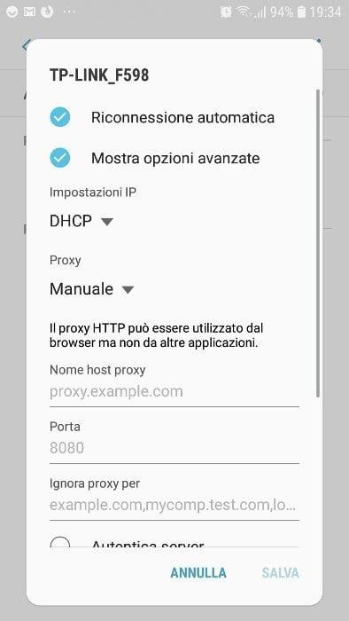 Configurare un proxy su Android