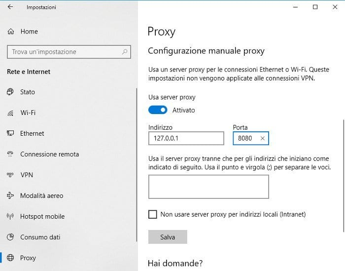 Configurare proxy su Windows 10