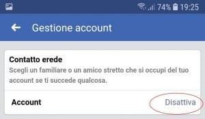 Disattivare account Facebook su smarphone