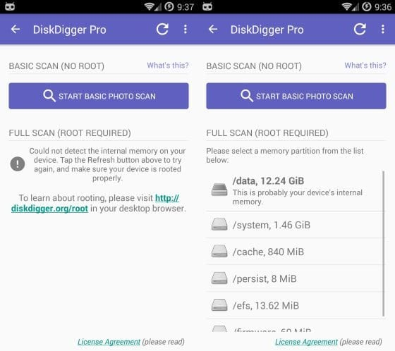 DiskDigger Recuperare foto su Android