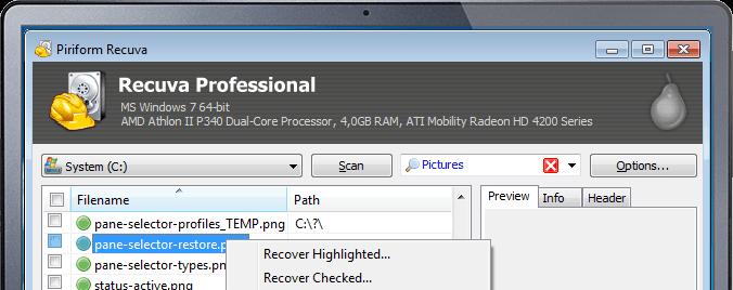 Recupero data da microSd Android con recuva