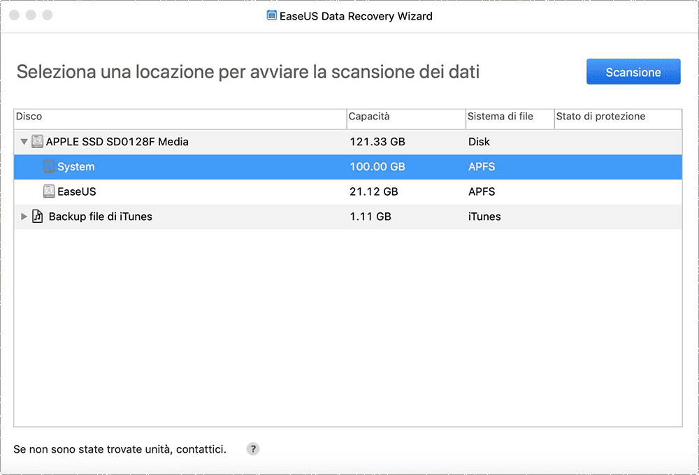 Seleziona il disco da dove recuperare i file cancellati con Mac