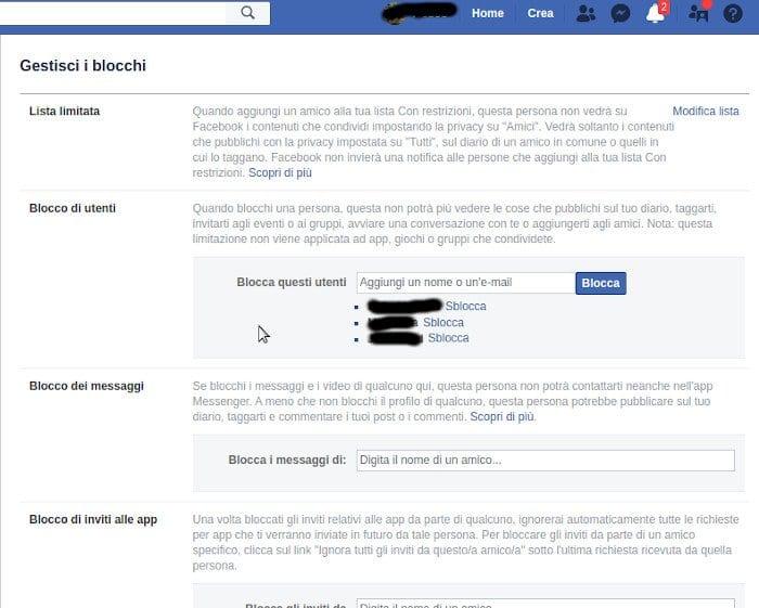 sbloccare una persona su facebbok
